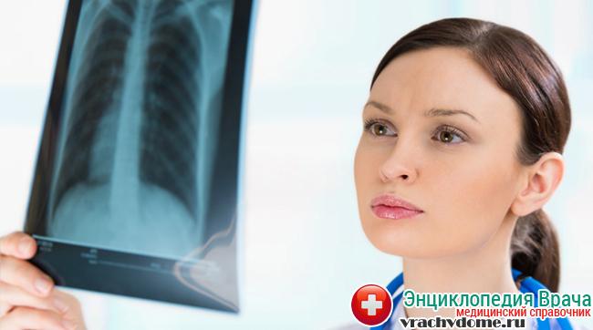 Диагностика заболевания производится с помощью рентгена или компьютерной томографии грудной клетки